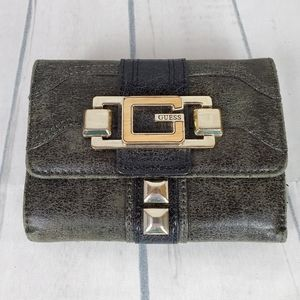 Vtg Guess Tri Fold Wallet Olive Black Gold